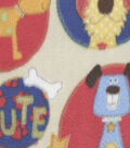Anti-Pill Fleece Fabric -Patterned Puppy Patch