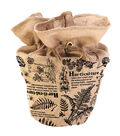 In the Garden Burlap Pot Cover with Drawstring-Botanical
