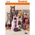 Simplicity Pattern 1514A Children\u0027s Animal Hats-Size S-M-L