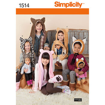 Simplicity Pattern 1514A Children's Animal Hats-Size S-M-L