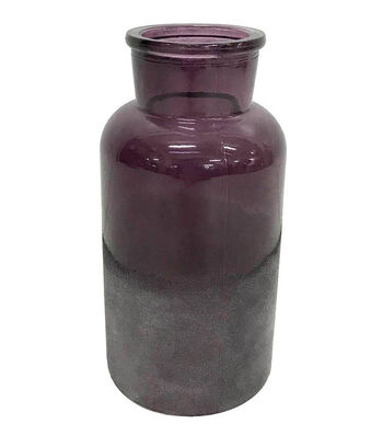 Blooming Autumn Small Frosted Glass Vase-Burgundy