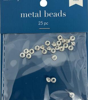 Round Cast Metal Spacer Beads, Silver, 25pcs/pkg