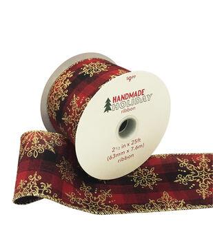 Handmade Holiday Christmas Ribbon 2.5''x25'-Gold Snowflakes on Plaid
