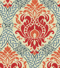 Waverly Lightweight Decor Fabric 54\u0022-Dressed Up Damask/Poppy