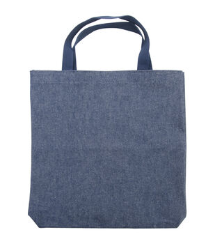 "Medium Tote 13.5""X13.5""X2""-Indigo Denim"
