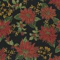 Christmas Cotton Fabric-Poinsettia Black Metallic