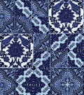 Luxe Flannel Fabric -Blue Tiled