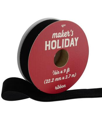 Maker's Holiday Traditional Holiday Velvet Ribbon 7/8''x9'-Black