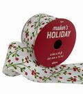Maker\u0027s Holiday Christmas Ribbon 2.5\u0027\u0027x25\u0027-Berry Branch on White