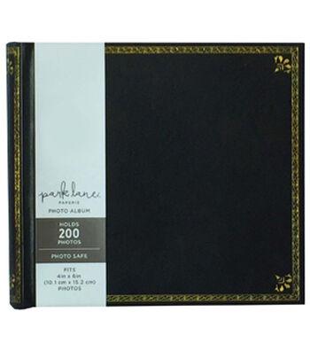 Park Lane 9.5''x8.5'' Photo Album-Gold Scrolls on Black