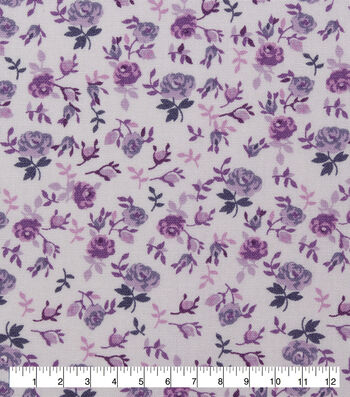Keepsake Calico Cotton Fabric-Light Purple Packed Floral