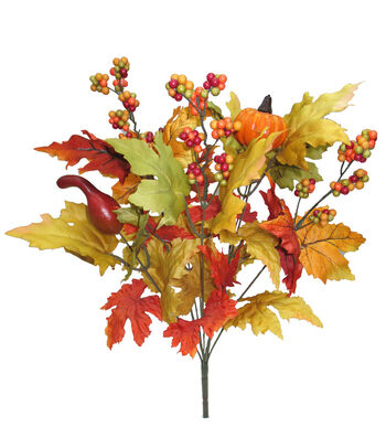 Blooming Autumn 20'' Pumpkin, Berry & Maple Leaves Bush