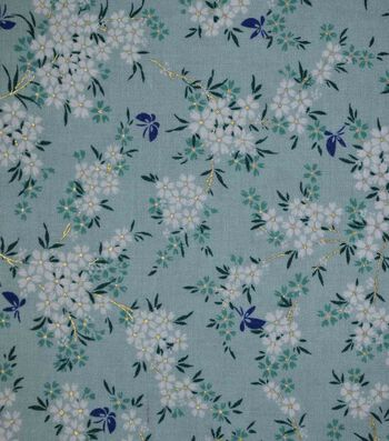 Premium Cotton Print Fabric 44''-Teal & Metallic Floral Bouquet