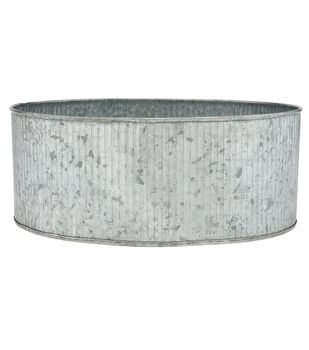 Ribbed Round Galvanized Container 9''