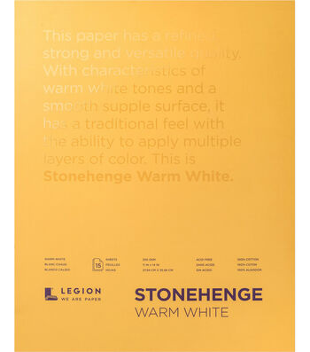 Legion Paper Stonehenge 15-sheet 11''x14'' 90 lb Paper Pad-Warm White