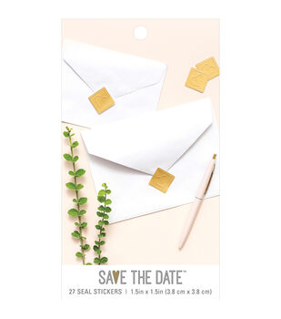 Save the Date 27 pk 1.5''x1.5'' Square Seal Stickers-Gold Heart