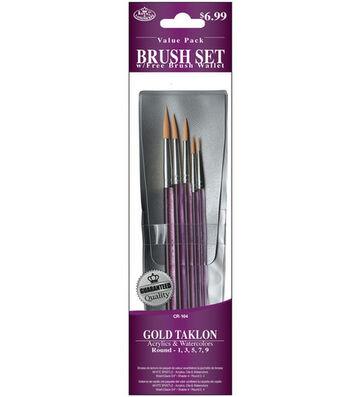 Royal Langnickel Round Taklon Brush Set Value Pack with Free Brush Wallet