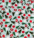 Doodles Holiday Interlock Cotton Fabric -Trees Bulbs Snowflake