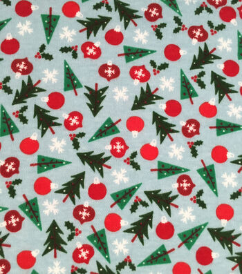 Doodles Holiday Interlock Cotton Fabric -Trees Bulbs Snowflake