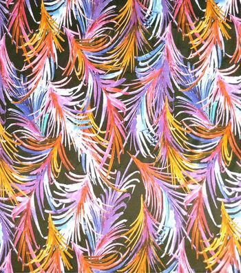 Silky Prints Fabric -Neon Ferns