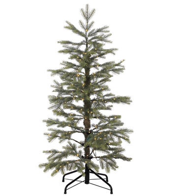 Layered Noble Fir Tree on Metal Stand with Rice Lights 4'