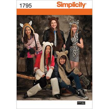 Simplicity Pattern 1795A Adult Animal Hats-Size S-M-L