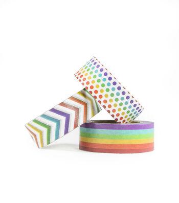 Park Lane 3 pk Washi Tapes 0.6''x10 yds-Rainbow Basics