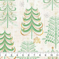 Christmas Cotton Fabric-Scroll Trees with Glitter