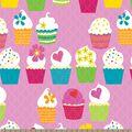 Flower Cupcakes Print Fabric