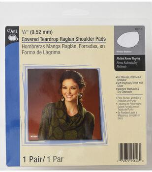 "Dritz 0.38"" Covered Teardrop Raglan Shoulder Pads 2pcs White"