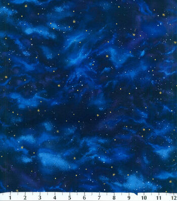 Premium Cotton Fabric 44''-Stars on Navy