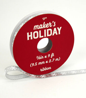 Maker's Holiday Arctic Frost Ribbon 3/8''x9'-White Snowflakes on Silver