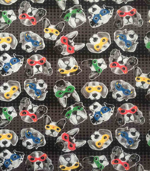 Doodles Juvenile Interlock Knit Fabric 57''-Dogs in Colorful Masks