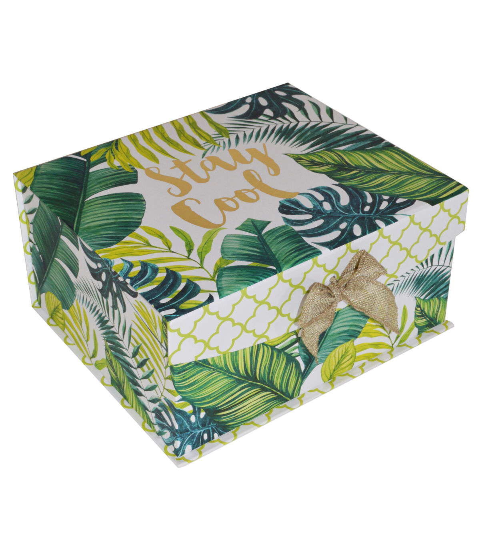 Organizing Essentialsu0026#8482; Small Flip Top Box Tropical Leaves