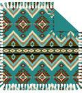 No Sew Fleece Throw 72\u0022-Teal Aztec