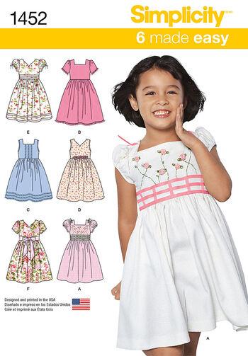 Simplicity Pattern 1452A 3-4-5-6-7--Child Dresses