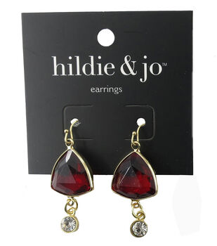 hildie & jo Triangle Gold Earrings-Red & Clear Crystal
