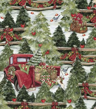 Christmas Cotton Fabric-Pine Trees & Fences