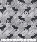 Snuggle Flannel Fabric-Moose on White Wood
