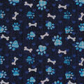 Novelty Cotton Fabric 43\u0022-Blue Paw Prints