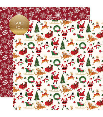 Merry & Bright Gold Foiled Double-Sided Cardstock 12X12-Merry Christmas