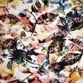 Knit Prints Burnout Stretch Fabric-Ivory Floral Leaf
