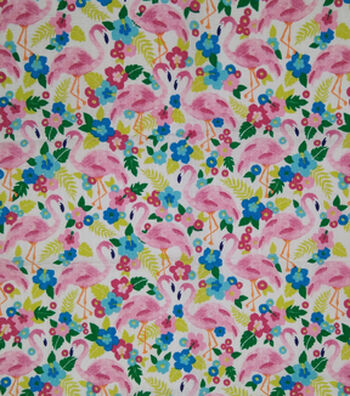 Doodles Juvenile Apparel Fabric -Flamingo Pucker