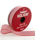 Maker\u0027s Holiday Whimsy Workshop Ribbon 7/8\u0027\u0027x9\u0027-Red & White Stripes
