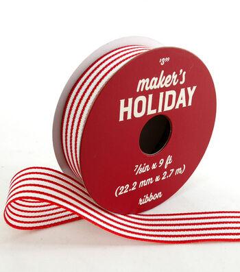 Maker's Holiday Whimsy Workshop Ribbon 7/8''x9'-Red & White Stripes