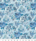 Keepsake Calico Cotton Fabric-Blue Sketched Floral