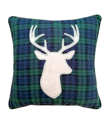 Maker's Holiday Christmas Pillow-Deer on Blue & Green Black Watch Plaid