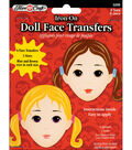 Fibre Craft Iron-On Embroidered Doll Face Transfers 6/Pkg