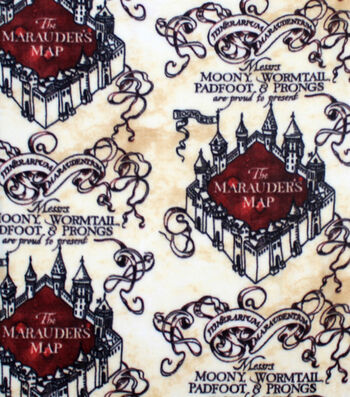 "Harry Potter Fleece Fabric 58""-Marauders Map Simplified"