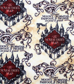 Harry Potter Fleece Fabric-Marauders Map Simplified